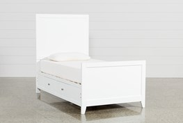 Bayside White Twin Panel Bed With Storage