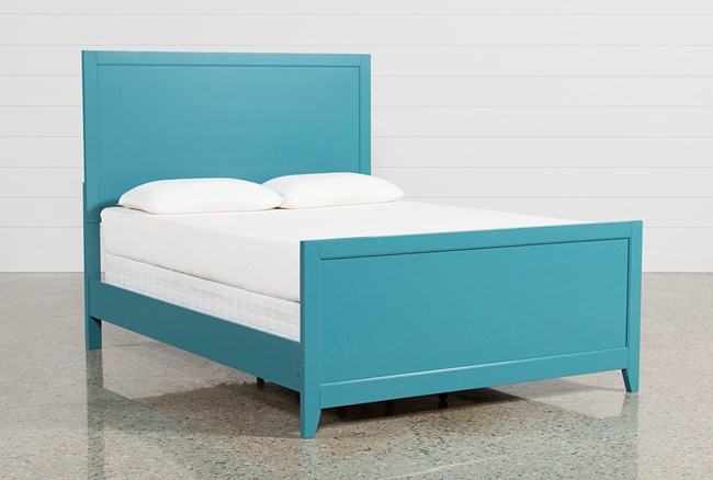 Bayside Blue Queen Panel Bed - 360