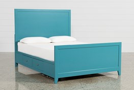 Bayside Blue Queen Panel Bed W/Storage