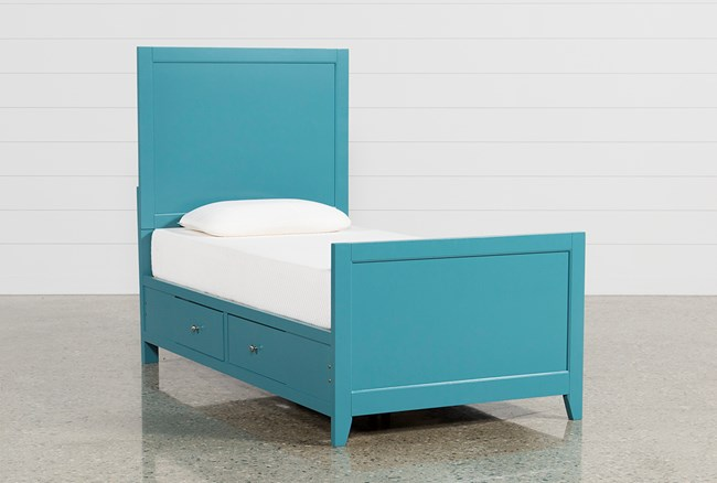Bayside Blue Twin Panel Bed With Storage - 360
