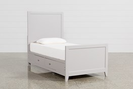 Bayside Grey Twin Panel Bed With Storage