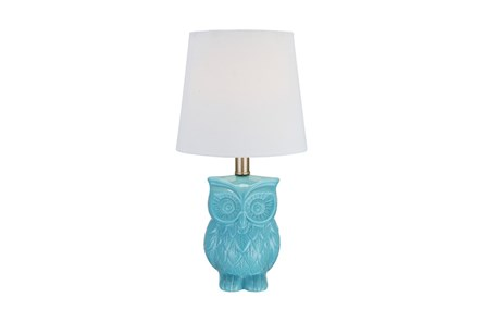 Youth Table Lamp-Aqua Owl