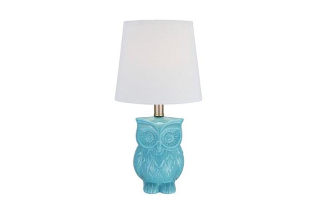 Youth Table Lamp-Aqua Owl - 360