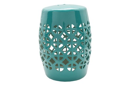 Outdoor Teal Geo Cut Stool - Main