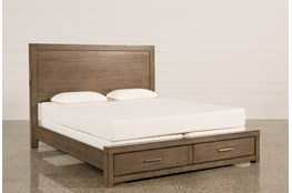 Riley Greystone Eastern King Panel Bed With Storage and USB