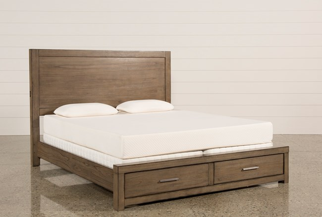 Riley Greystone Eastern King Panel Bed With Storage and USB - 360
