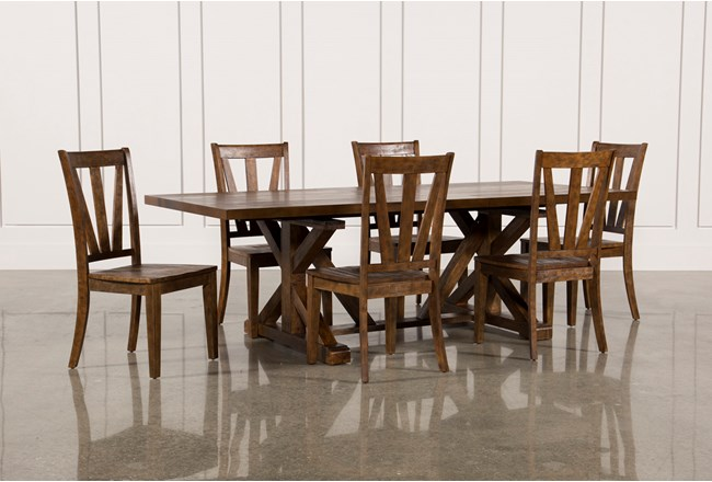 Chandler 7 Piece Extension Dining Set W Wood Side Chairs Living Spaces