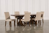 KIT-CHANDLER 7 PIECE EXTENSION DINING SET W/FABRIC SIDE CHAIRS