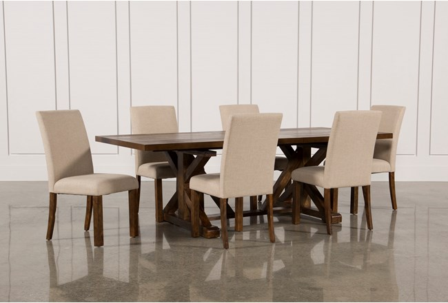 Chandler 7 Piece Extension Dining Set W Fabric Side Chairs 360