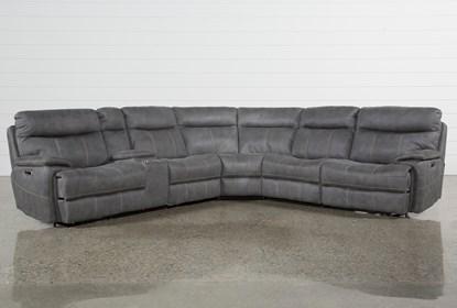 Miraculous Denali Light Grey 6 Piece Reclining Sectional With 2 Power Headrests Machost Co Dining Chair Design Ideas Machostcouk