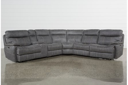 Denali Light Grey 6 Piece Reclining Sectional With 2 Power Headrests