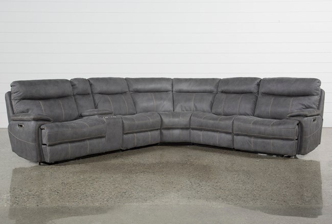 Denali Light Grey 6 Piece Reclining Sectional W/2 Power Headrests - 360