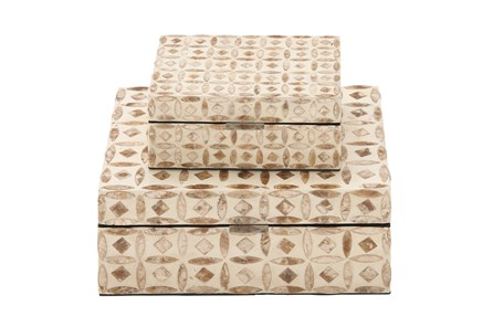 2 Piece Set Wood Mop Inlay Boxes - Main