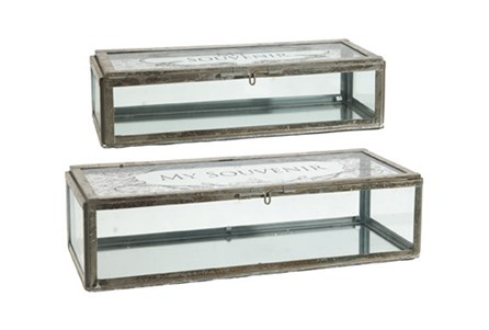 2 Piece Set My Souvenir Glass Boxes