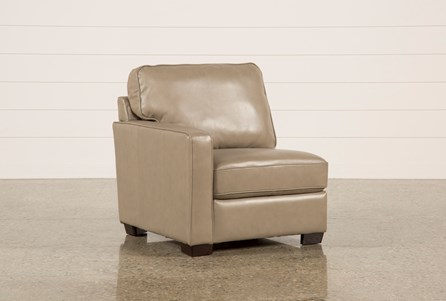 Redford Mushroom Leather Left Facing Chair