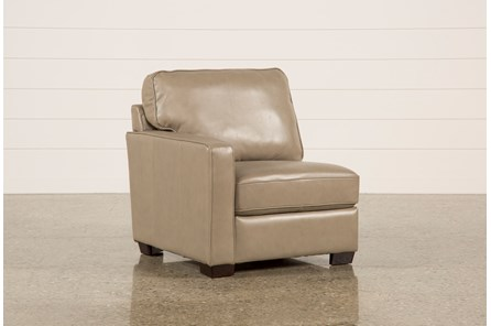 Redford Mushroom Leather Left Facing Chair - Main