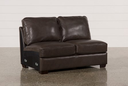 Redford Coffee Leather Armless Loveseat