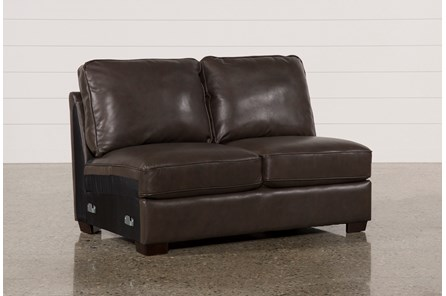Redford Coffee Leather Armless Loveseat - Main