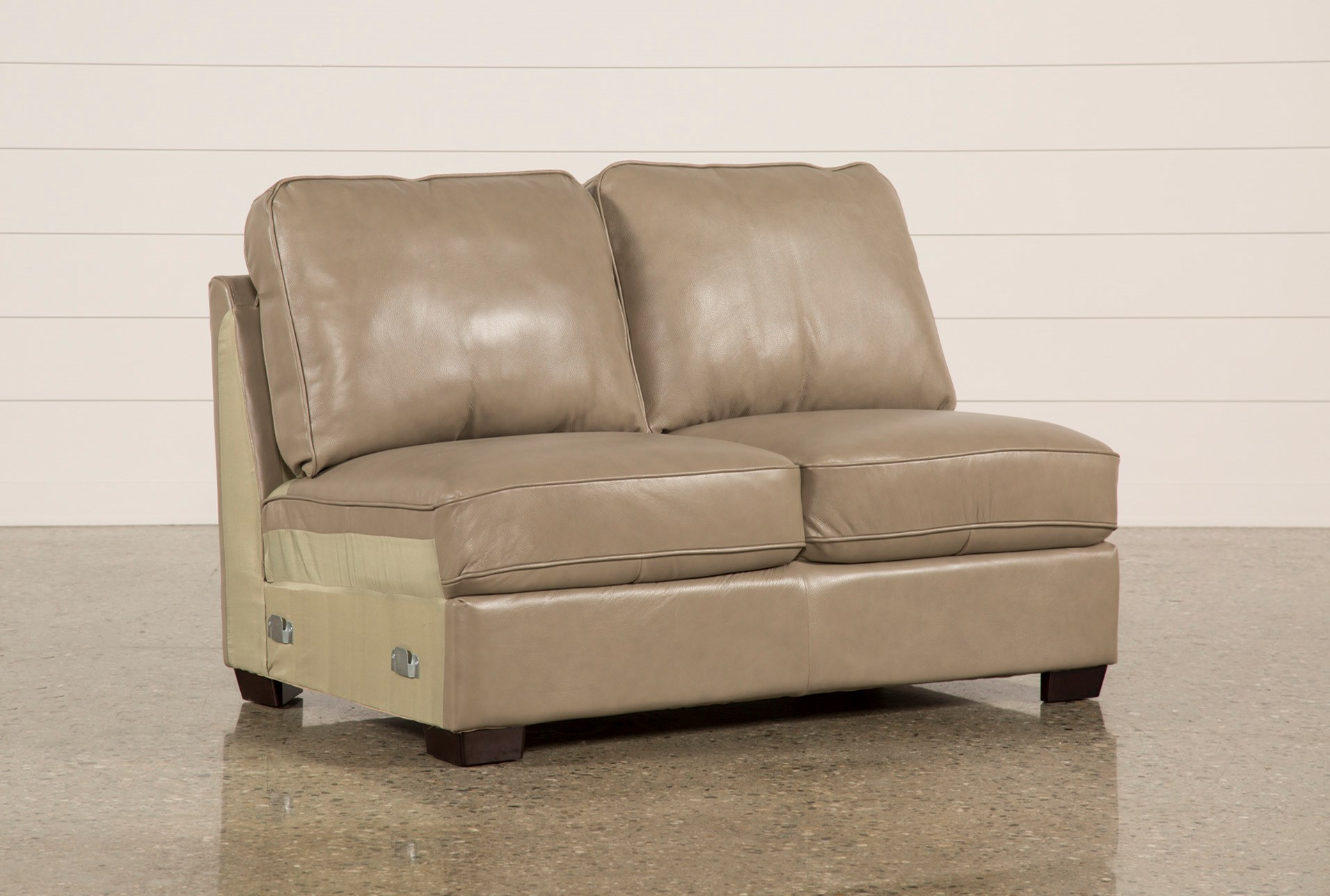 Redford Mushroom Leather Armless Loveseat Living Spaces