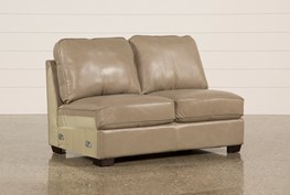 Redford Mushroom Leather Armless Loveseat