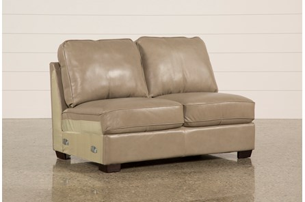 Redford Mushroom Leather Armless Loveseat - Main