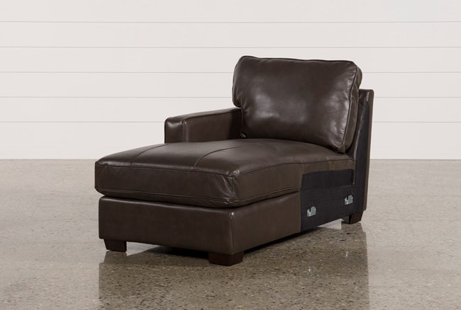 Redford Coffee Leather Left Facing Chaise - 360