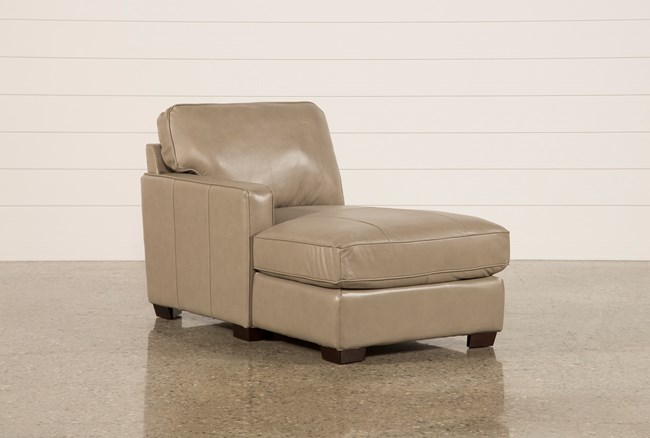 Redford Mushroom Leather Left Facing Chaise - 360