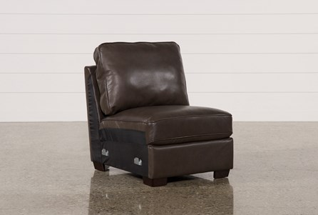 Redford Coffee Leather Armless Chair