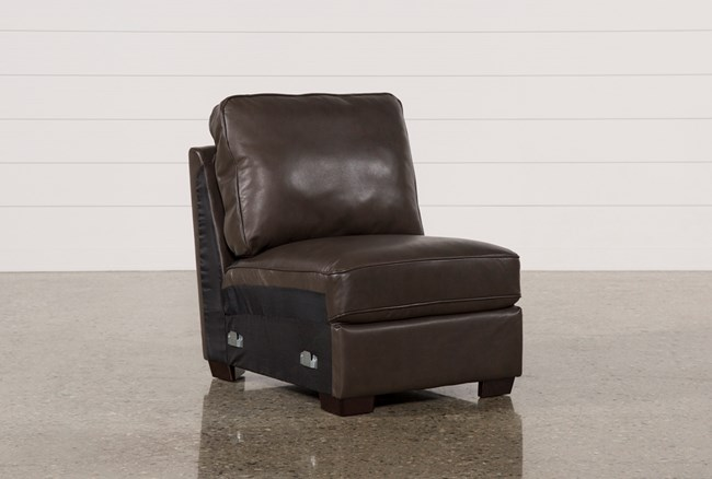 Redford Coffee Leather Armless Chair - 360