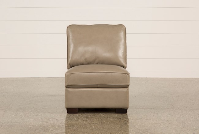 Redford Mushroom Leather Armless Chair - 360