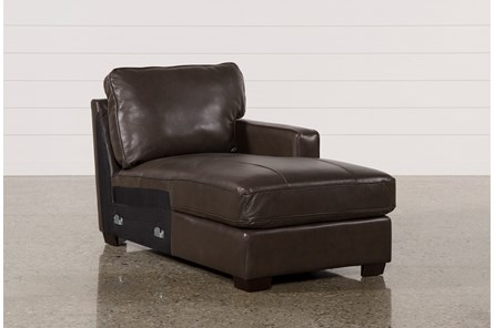 Redford Coffee Leather Right Facing Chaise - Main