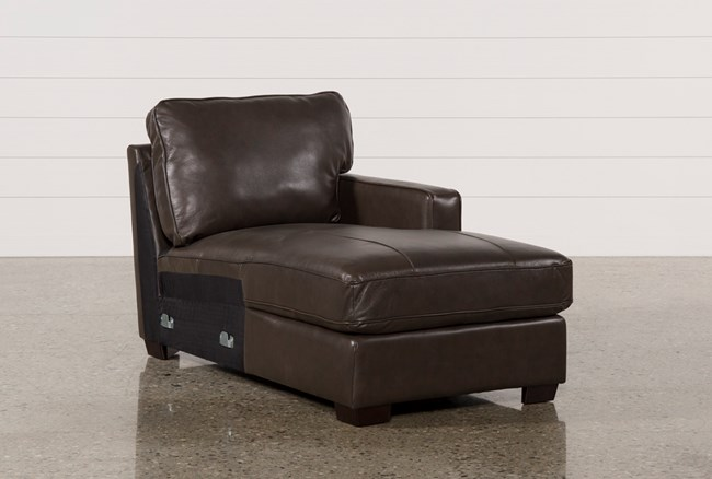Redford Coffee Leather Right Facing Chaise - 360