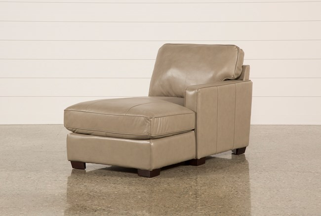 Redford Mushroom Leather Right Facing Chaise - 360