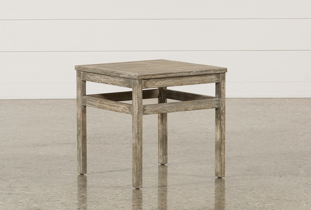 Outdoor Pompeii End Table W/Wood Top