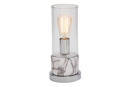 Desk Lamp-White Marble W/ Silver