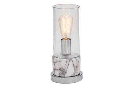 Desk Lamp-White Marble W/ Silver