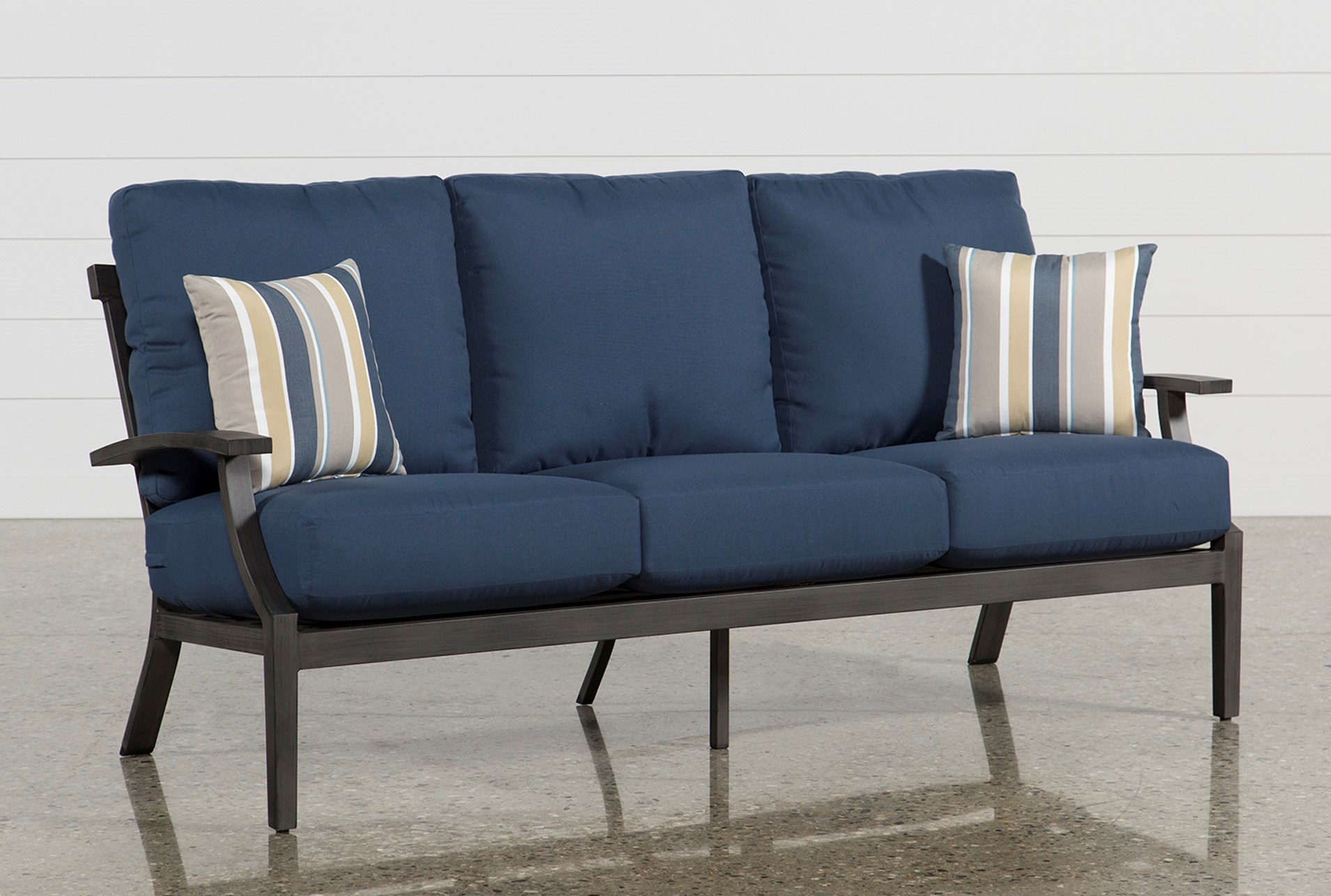 Martinique Navy Outdoor Sofa | Living Spaces on Living Spaces Outdoor Sectional id=27856