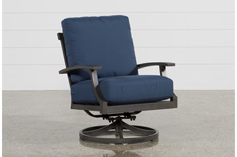 Martinique Navy Outdoor Swivel Rocker