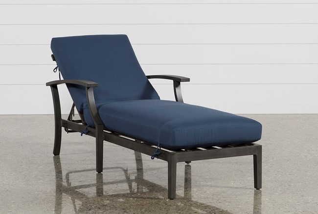 Outdoor Martinique Navy Chaise Lounge - 360