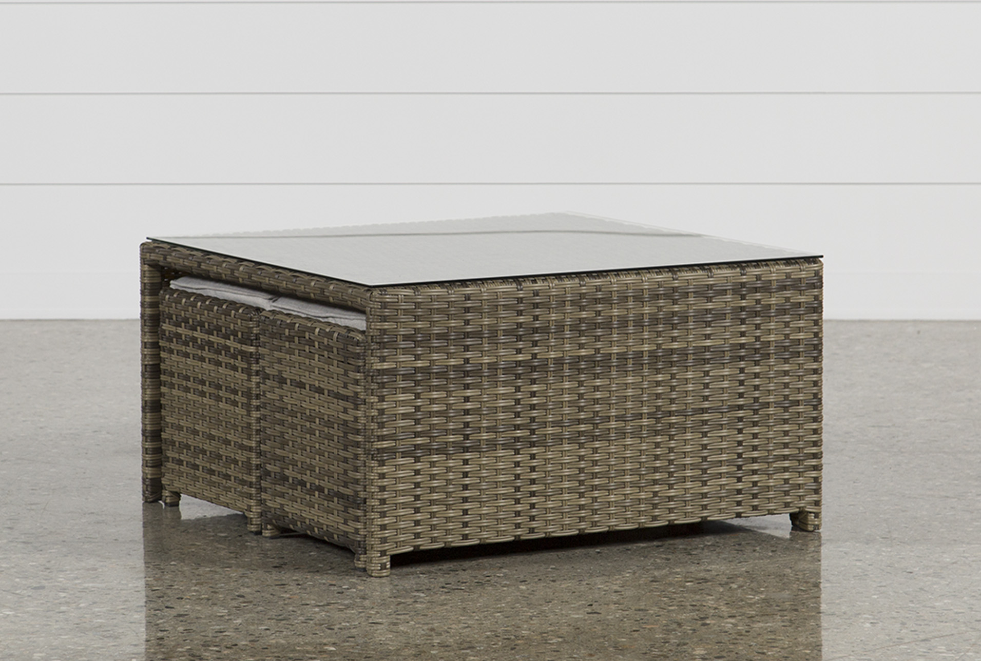 Outdoor Aventura Cocktail Table W/Two Ottomans   360