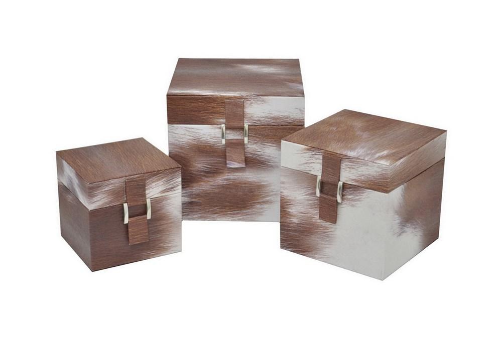 3 Piece Set Cowhideskin Box Set