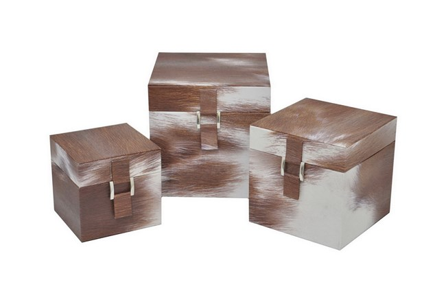 3 Piece Set Cowhideskin Box Set - 360