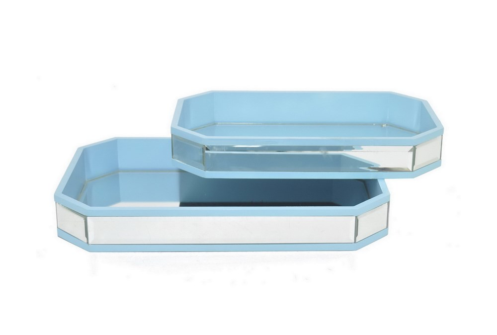 2 Piece Set Mirrored Trays