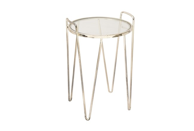 Metal & Glass Round Accent Table - 360