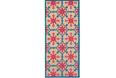 27X90 Outdoor Rug-Fuschia And Blue Medallion