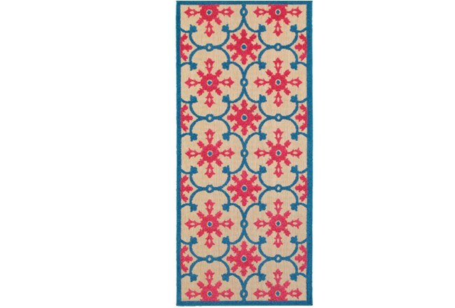 27X90 Outdoor Rug-Fuschia And Blue Medallion - 360