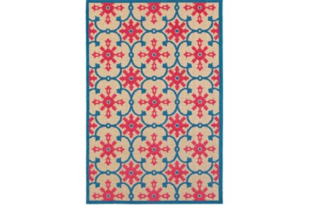 22X39 Outdoor Rug-Fuschia And Blue Medallion