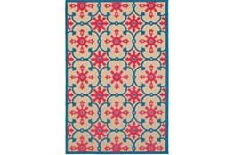 63X90 Outdoor Rug-Fuschia And Blue Medallion