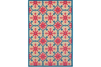 79X114 Outdoor Rug-Fuschia And Blue Medallion