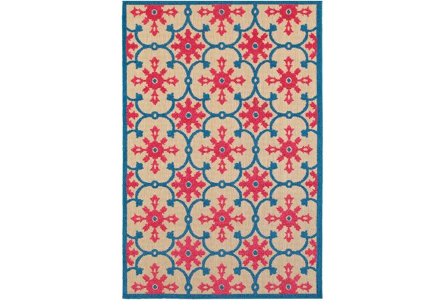 79X114 Outdoor Rug-Fuschia And Blue Medallion - 360